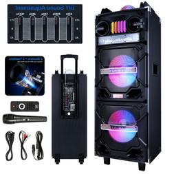 """4,500W Bluetooth Speaker Rechargable Dual 10"""" Woofer Party F"""