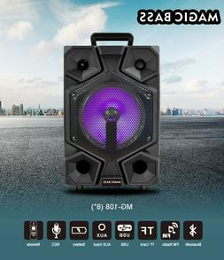 """Magic Bass 8"""" Portable Powered Rechargeable Wireless Bluetoo"""