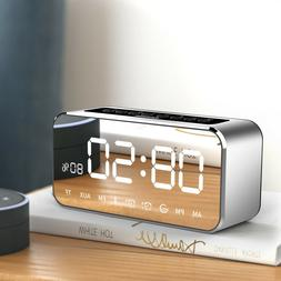 Bluetooth Speaker With Mirror Touch Stereo Alarm Digital Clo