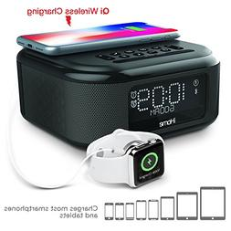 iHome iBTW23 Wireless Charging Bluetooth Alarm Clock with Sp