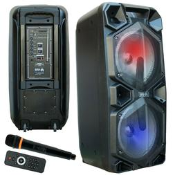 EMB 2000 Watts Bluetooth Rechargeable PA Speaker w/ Light, E