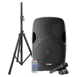 Gemini AS-15BLU Powered Bluetooth Speaker w/ Stand & Mic