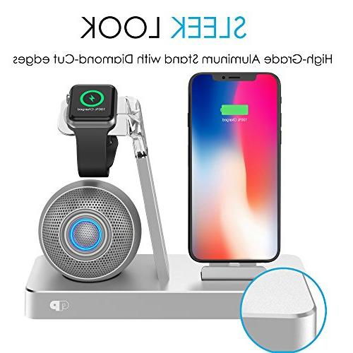 Press Play Beat Power Wireless Speaker Dock, & Charger Watch iPad iPod Lightning Connector