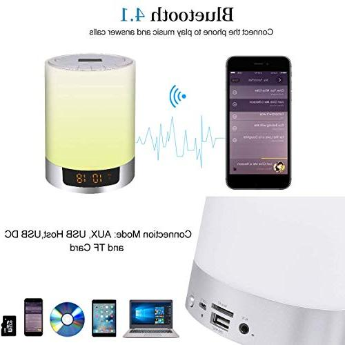 Alarm Speakers, Kids Touch Sensor LED Bedside MP3 Music for Bedrooms, Party,