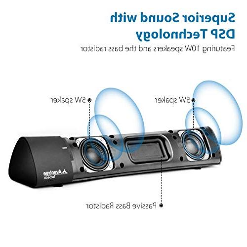 Avantree Low Laptop Speakers, DSP Superb Sound, Wireless Home Stereo Speaker, Bass for Tablets, Computer Torpedo