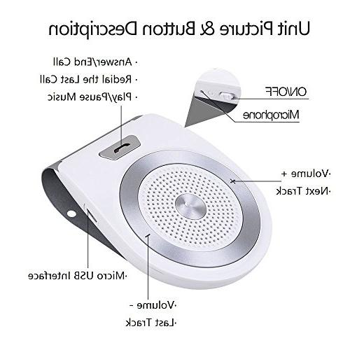 Bluetooth Car Aigital Speakerphone AUTO ON Receiver Music Adapter Built-in Mic -