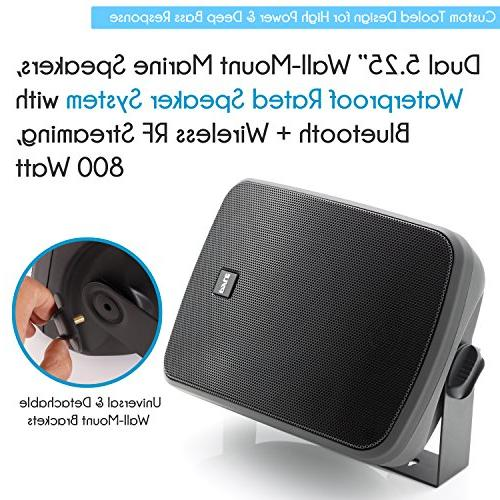 Pyle Bluetooth Wall-Mount Speakers Powered Indoor/Outdoor Water & Weather Full Stereo Sound Gold Post 800 Watt Black