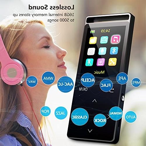 Grtdhx Player FM Recorder, Lossless Touch button, Inch Color Playback, HD Sound Earphone, with an Armband, Black