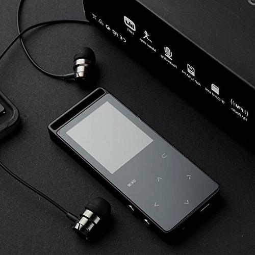 Grtdhx 16GB Bluetooth Player with Recorder, Touch Inch Color 50 Playback, HD Quality Earphone, Black
