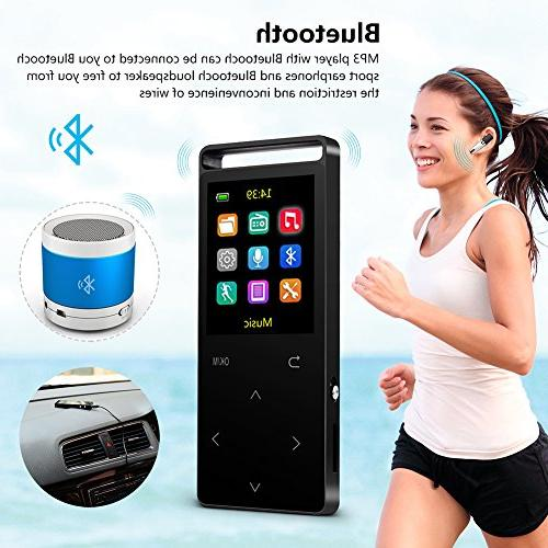 Grtdhx Player Recorder, Touch 1.8 Color Playback, HD Sound Earphone, with an Black