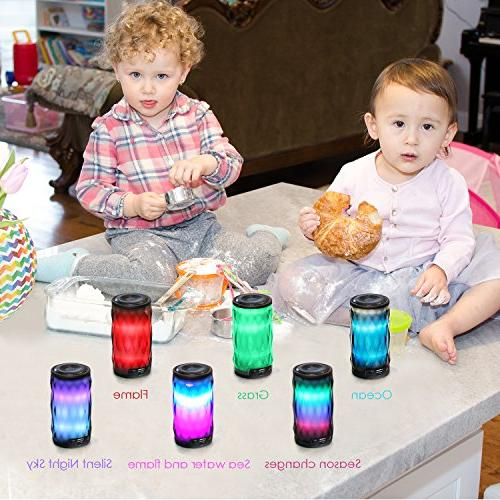 LED Speaker,Night Changing Wireless Speaker,MIANOVA Portable Color Themes,Handsfree/Phone/PC/MicroSD/USB Supported