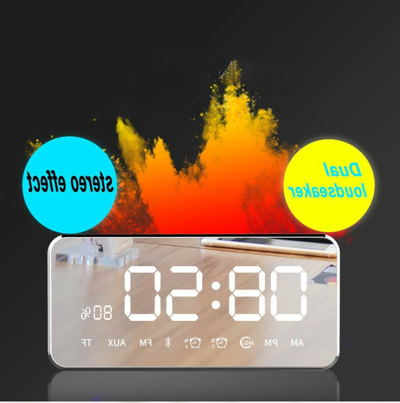Bluetooth Speaker Mirror Touch Stereo Clock AUX US