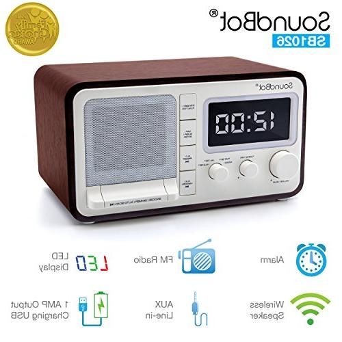 SoundBot Dual Alarm Clock FM Radio Bluetooth Wireless Portab
