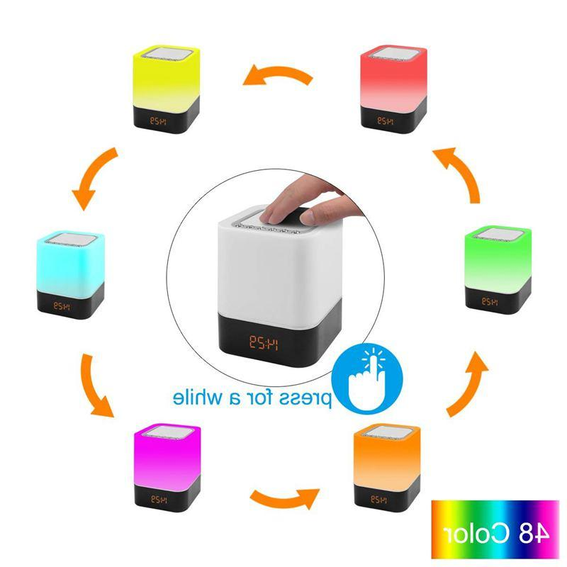 <font><b>Touch</b></font>-Control Bedside Lamp with <font><b>Wireless</b></font> Changing Night Radio