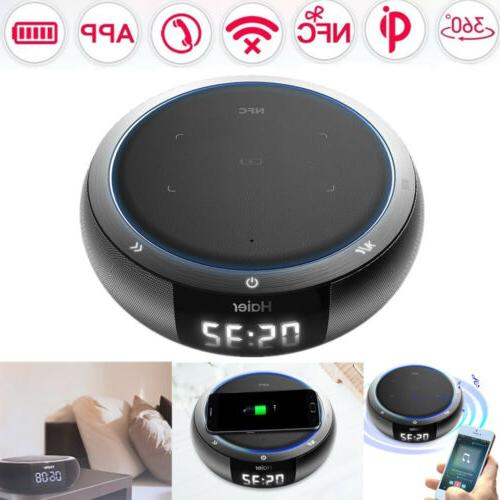Haier HiFi Bluetooth Speaker Qi Wireless Charger Pad USB Sma