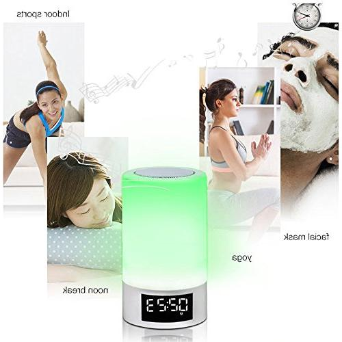 Night Speaker ELEPOWSTAR Lamp Led Display Color Changing Mode Clock,TF Card Slot, Function,AUX-in,Wireless Speaker