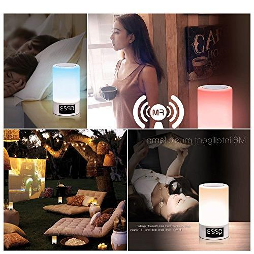 Night Light Speaker ELEPOWSTAR Dimmable Besides Lamp Led Time Color Clock,TF Function,AUX-in,Wireless