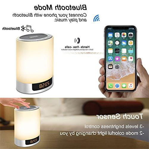 Night Lights Speaker, Alarm with Touch Control Lamp Lamp Color Speaker AUX MP3 Music Player for Kids,Party,Outdoor,