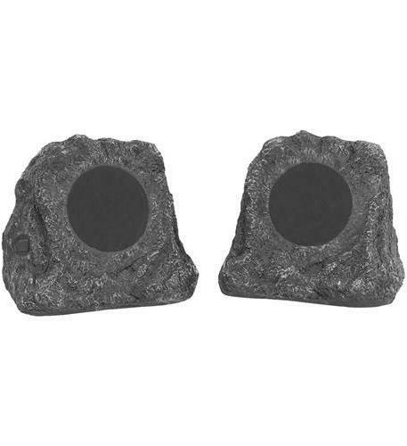 Pair Bluetooth Wireless Outdoor Rock Speakers Grey