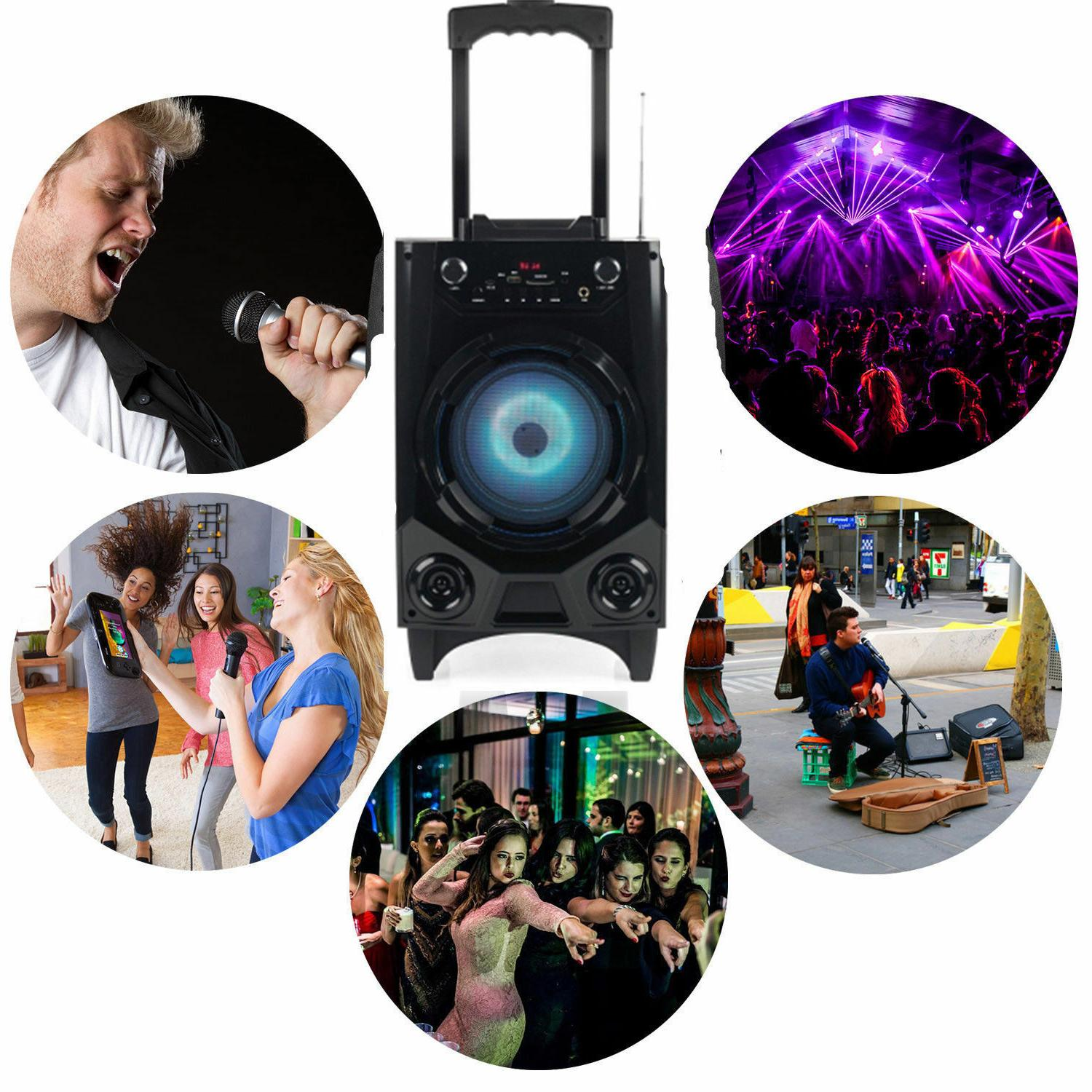Portable Rechargeable Wireless Bluetooth Party DJ Speaker With Mic
