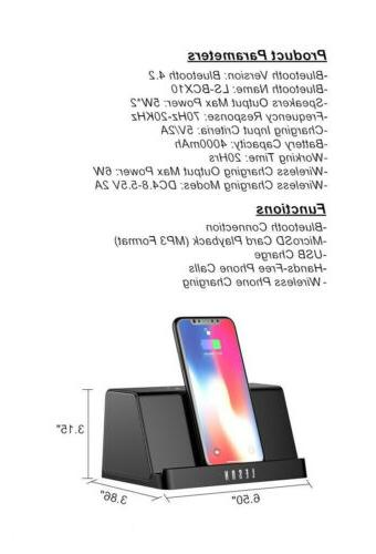 LESON Portable Bluetooth with Qi Wireless Charger Stand