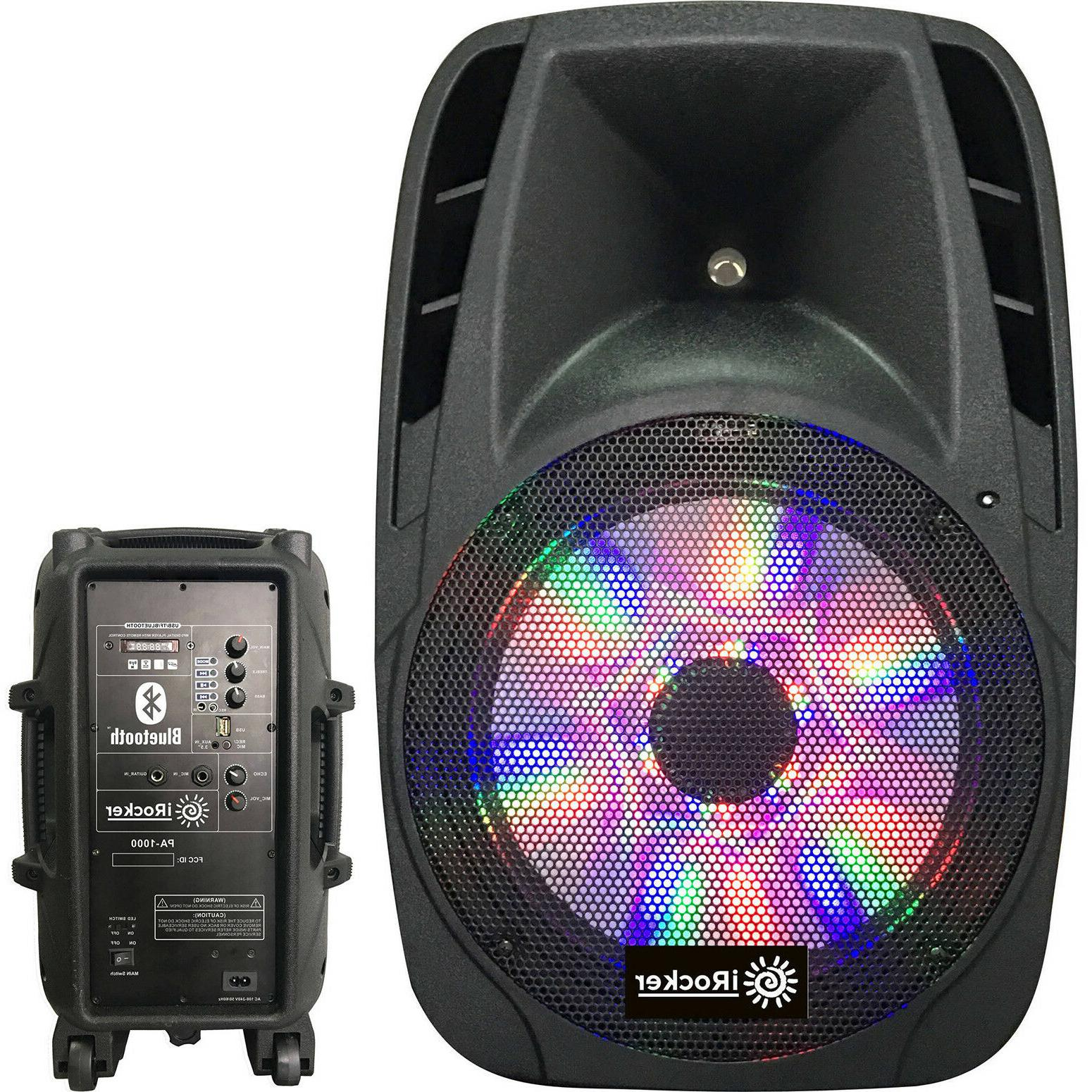 "Portable Loud Speaker 1000W Bass Stereo Sound System 12"" USB"