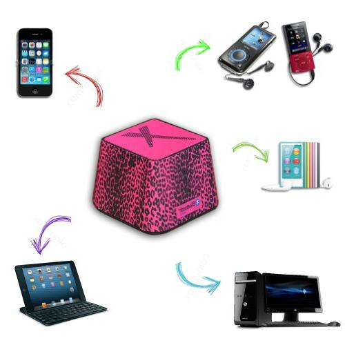 Xit Portable Bluetooth in Stylish Hot Leopard, with Smartphones and Bluetooth Enabled Devices 360-Degree Output