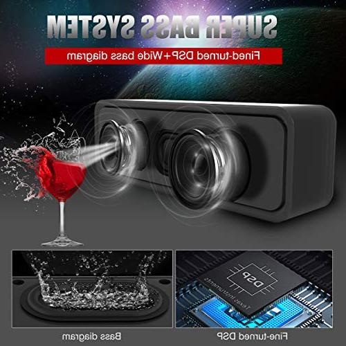 Portable Wireless Bluetooth Speakers, Dual Driver with Stereo Rich Microphone Small Wireless Android
