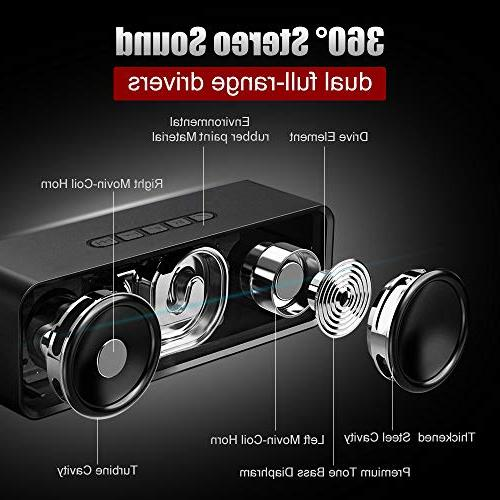 Portable Bluetooth Stereo Rich Bass, Built-in Microphone Small Wireless Android iPhone