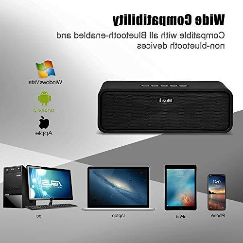 Portable Bluetooth Speakers, Dual Driver with Stereo Bass, Built-in Microphone Wireless iPhone