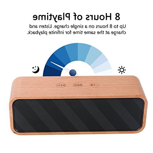 Portable Wireless Bluetooth 4.2 Bamboo Wood Touch Speakers with Bass,Subwoofers,Perfect with