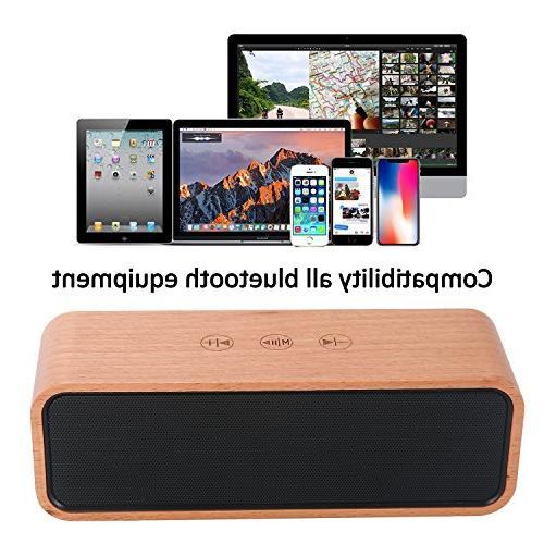 Portable Speaker,BOOMER Bluetooth 4.2 Bamboo Wood Home with with