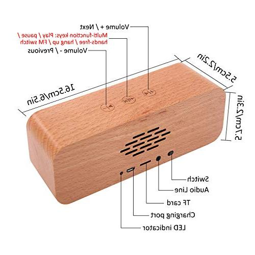 Portable Bluetooth Retro Wood Home with Bass,Subwoofers,Perfect with