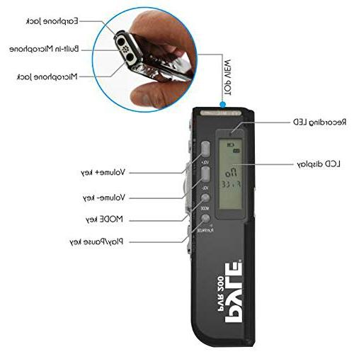 Digital Device Audio Recorder with Built-in Microphone & Headphone for Lecture, Class Meeting -