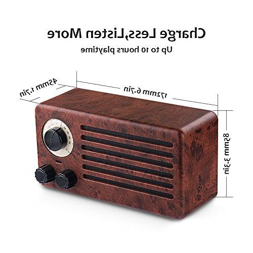 Retro Bluetooth Speakers, Dual Wireless Playing Time, Built-in Mic, Handsfree Call, AUX Line, USB Flash Drive, Stereo Sound