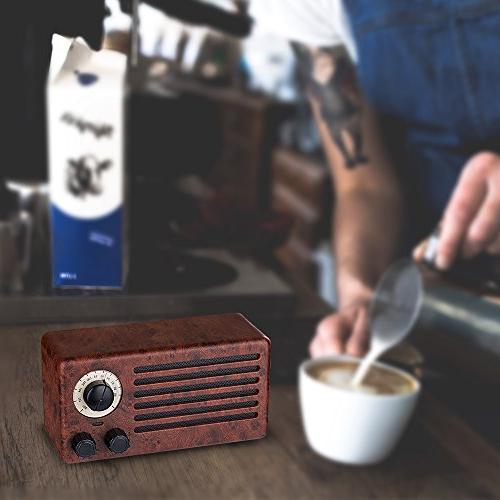 Retro Dual Wireless Speaker with Playing Time, Built-in Mic, AUX USB Drive, TF Card, Stereo Bass