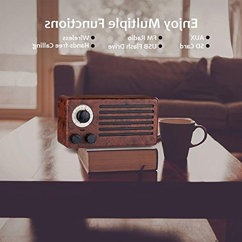 Retro Speakers, Dual 10W Wood Wireless Speaker with Built-in Handsfree AUX USB Flash Drive, TF Card, HD Stereo and