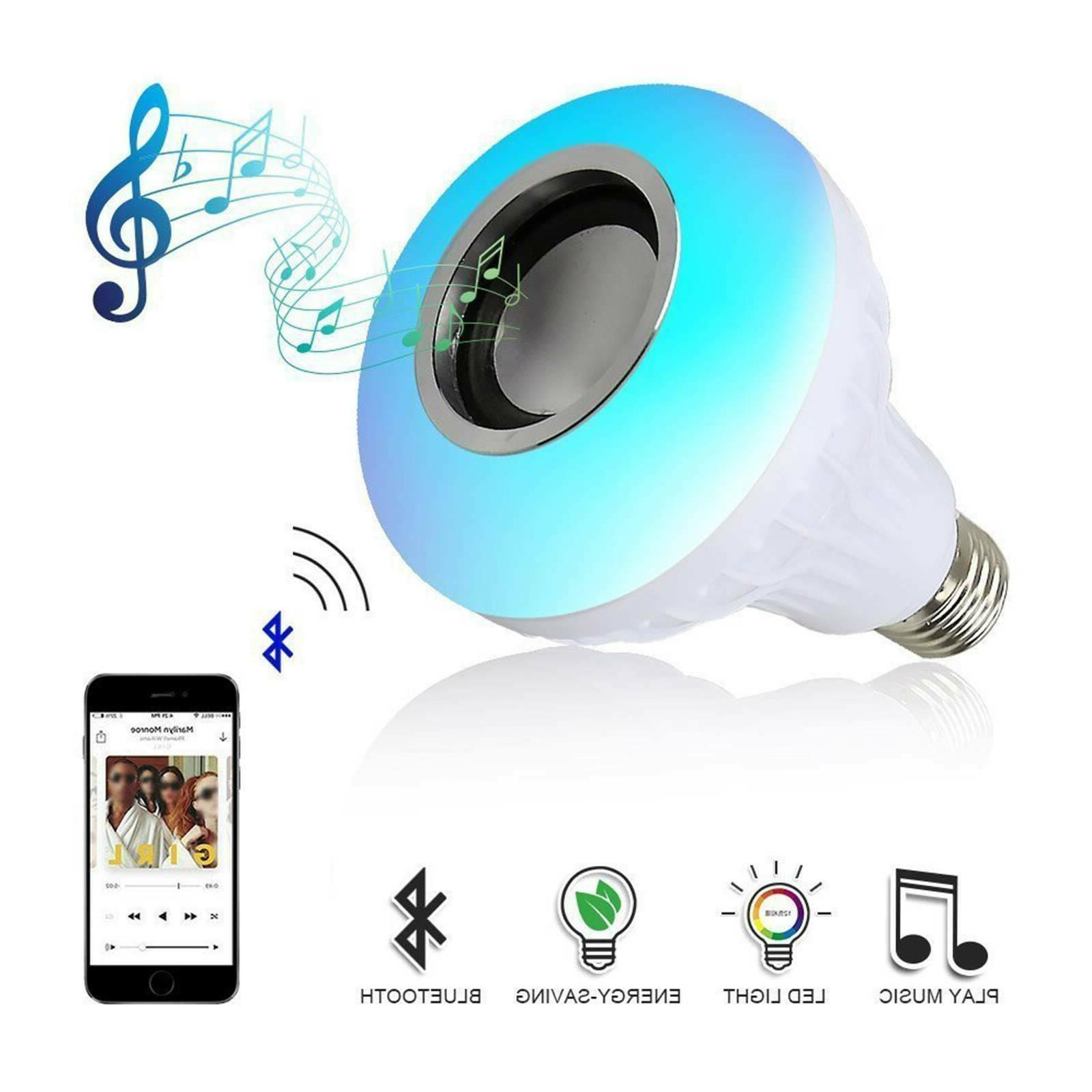 RGB LED Speaker E27 Light Bulb 12W Remote