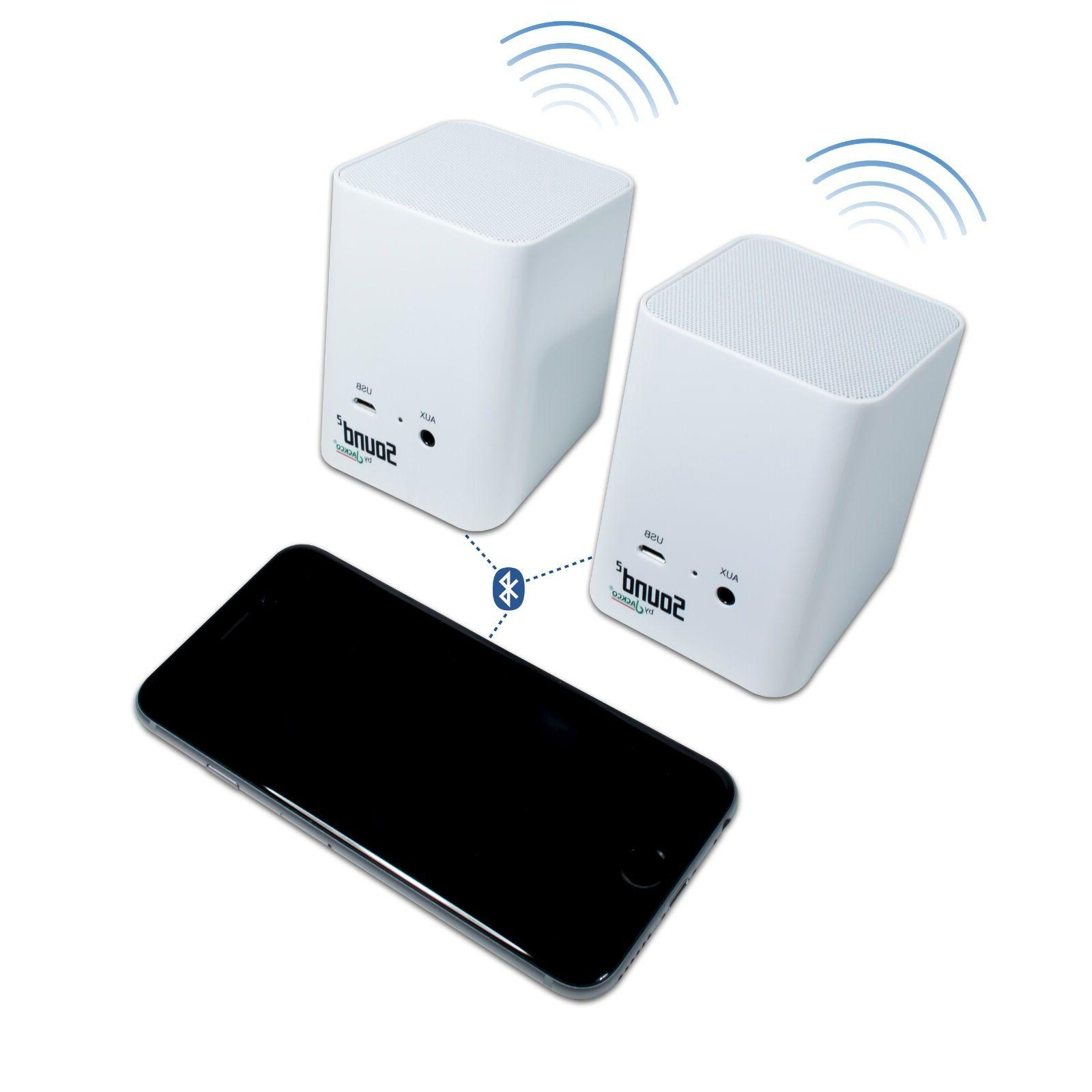 sound2 wireless portable bluetooth pair speakers white