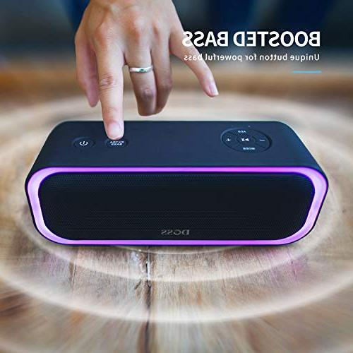 DOSS SoundBox Wireless Speaker with Stereo Active Stereo Paring, Multiple Lights, Waterproof IPX5, Hrs Battery Black