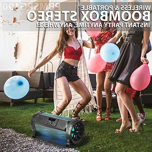 Pyle Boombox Street Blaster Portable Wireless 300 Power FM MP3 w/ Remote, LED Lights & battery -