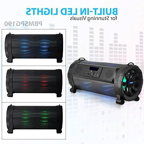 Pyle Bluetooth Boombox Blaster Stereo Speaker Portable 300 Power Radio MP3 System w/ Remote, LED battery