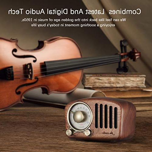Speaker- Walnut Wooden FM Radio with Fashioned Strong Bass Enhancement, Loud Bluetooth 4.2 Wireless TF Card & MP3 Player