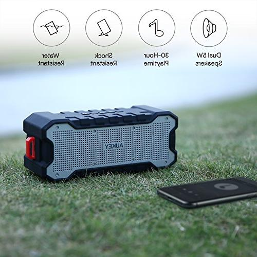 AUKEY Bluetooth Outdoor Waterproof, 30-Hour Playtime and Loud, Enhanced Treble for and other