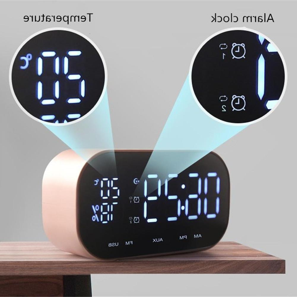wireless bluetooth speaker temperature lcd display fm