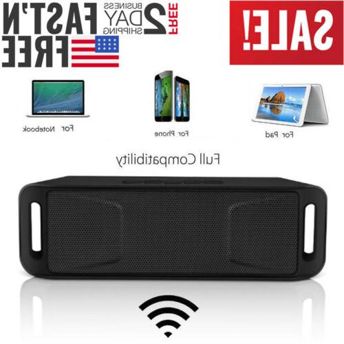 Black Portable Wireless Bluetooth Speaker Rechargeable+Call,