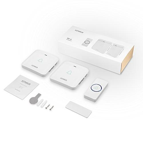 Wireless Doorbell, Waterproof Door Kit Operating at Over Feet with 2 Plug-In Receivers, 52 Melodies, CD Quality Flash