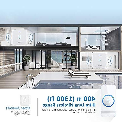 Wireless Doorbell, Waterproof Door Chime Operating Feet 2 Plug-In Receivers, 52 Melodies, Quality and Flash