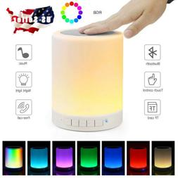 LED Bluetooth Speaker Stereo Touch Sensor Control Night Ligh