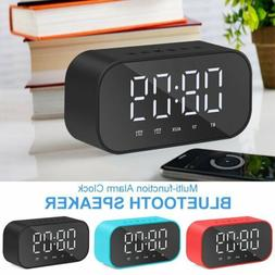 LED Digital Wireless Bluetooth Speaker Alarm Clock Desk Ther
